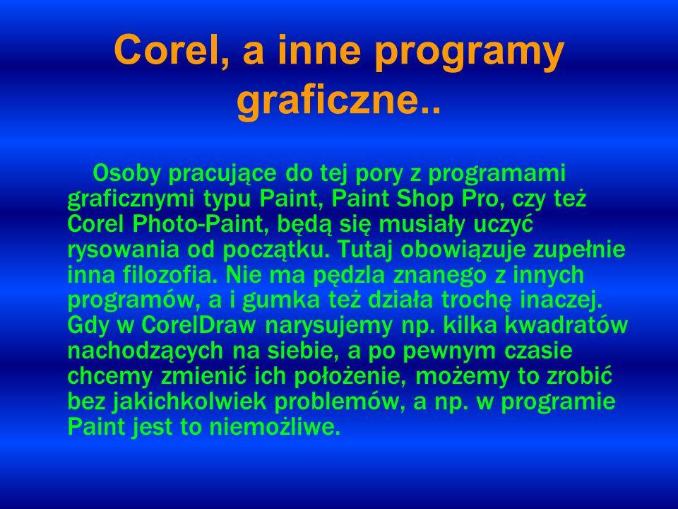Corel, a inne programy graficzne.. Osoby pracujące do tej pory z programami graficznymi typu Paint, Paint Shop Pro, czy też Corel Photo-Paint, będą si