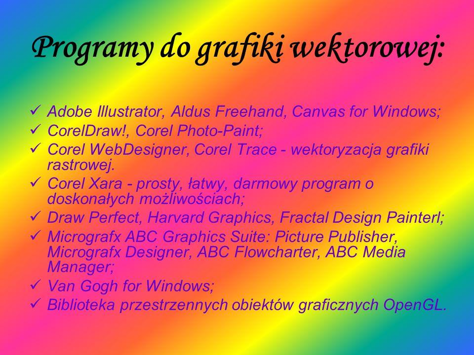Programy do grafiki wektorowej: Adobe Illustrator, Aldus Freehand, Canvas for Windows; CorelDraw!, Corel Photo-Paint; Corel WebDesigner, Corel Trace -