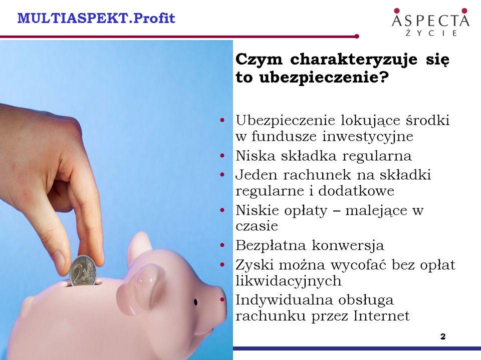 22 2 MULTIASPEKT.Profit Czym charakteryzuje się to ubezpieczenie? Ubezpieczenie lokujące środki w fundusze inwestycyjne Niska składka regularna Jeden