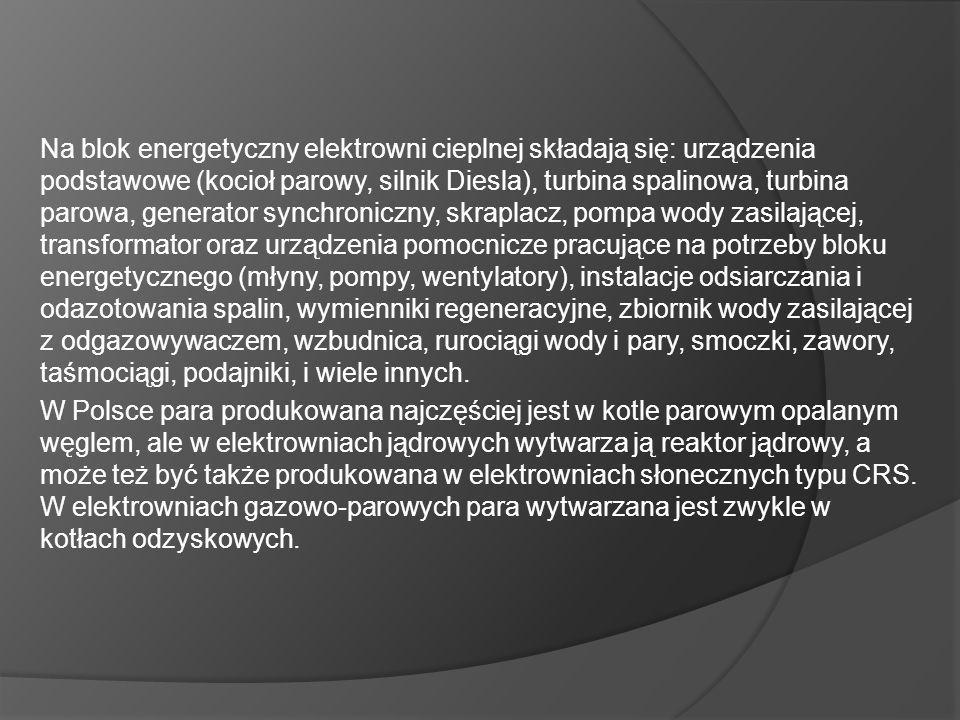 Na blok energetyczny elektrowni cieplnej składają się: urządzenia podstawowe (kocioł parowy, silnik Diesla), turbina spalinowa, turbina parowa, generator synchroniczny, skraplacz, pompa wody zasilającej, transformator oraz urządzenia pomocnicze pracujące na potrzeby bloku energetycznego (młyny, pompy, wentylatory), instalacje odsiarczania i odazotowania spalin, wymienniki regeneracyjne, zbiornik wody zasilającej z odgazowywaczem, wzbudnica, rurociągi wody i pary, smoczki, zawory, taśmociągi, podajniki, i wiele innych.