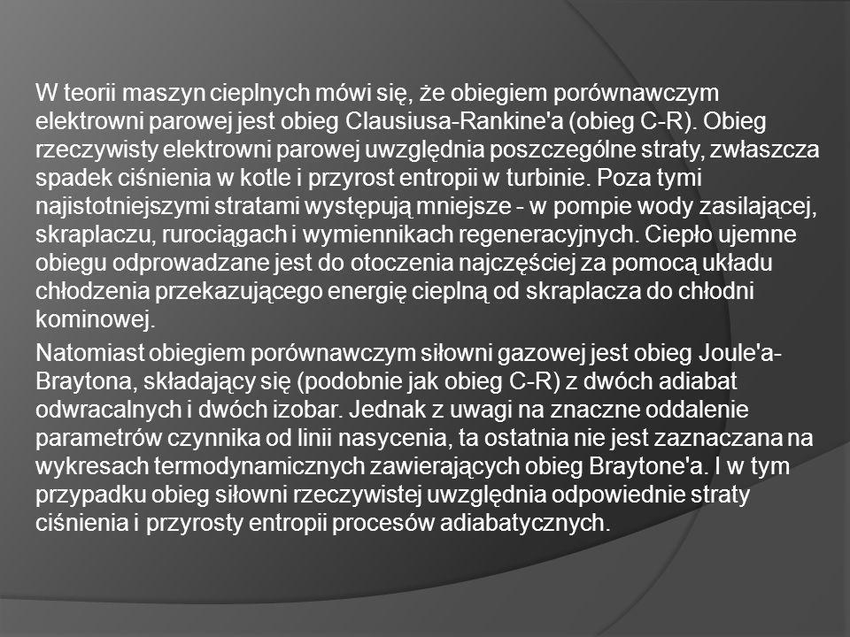 W teorii maszyn cieplnych mówi się, że obiegiem porównawczym elektrowni parowej jest obieg Clausiusa-Rankine a (obieg C-R).
