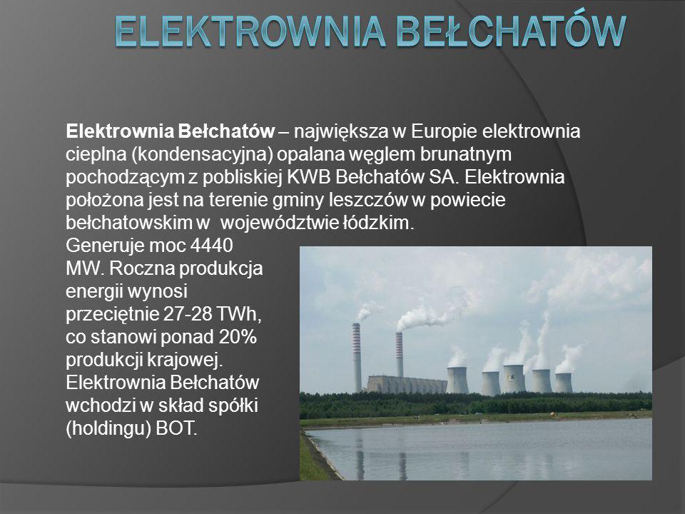 Elektrownia Bełchatów – największa w Europie elektrownia cieplna (kondensacyjna) opalana węglem brunatnym pochodzącym z pobliskiej KWB Bełchatów SA.