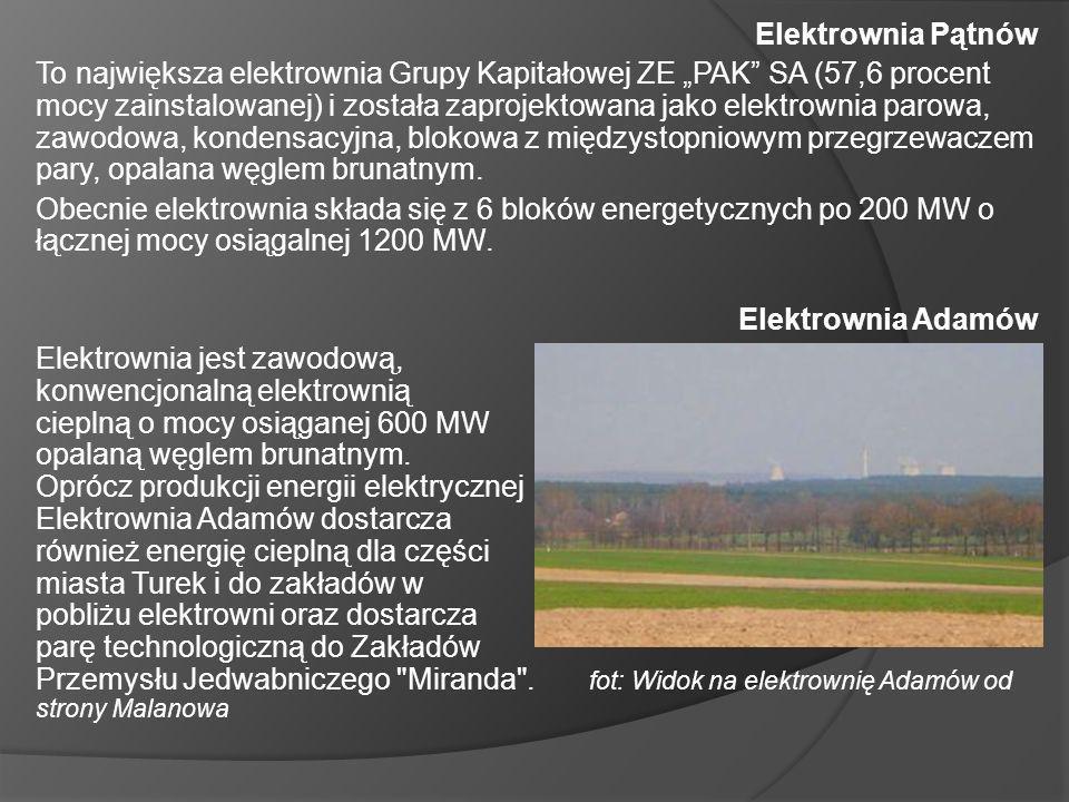 Elektrownia Pątnów To największa elektrownia Grupy Kapitałowej ZE PAK SA (57,6 procent mocy zainstalowanej) i została zaprojektowana jako elektrownia parowa, zawodowa, kondensacyjna, blokowa z międzystopniowym przegrzewaczem pary, opalana węglem brunatnym.