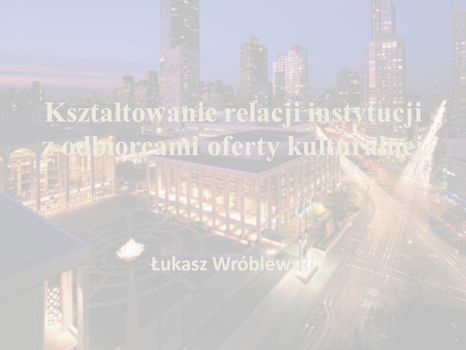 Kształtowanie relacji instytucji z odbiorcami oferty kulturalnej Łukasz Wróblewski