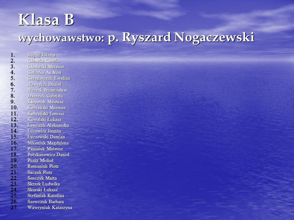 Klasa B wychowawstwo: p.Ryszard Nogaczewski 1. Bagłaj Jolanta 2.