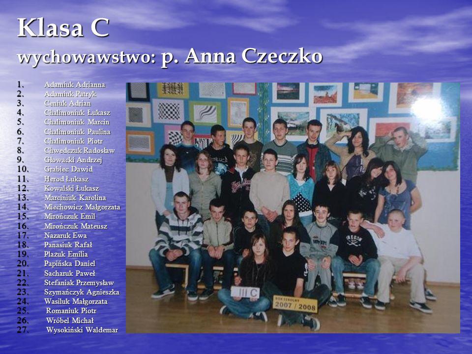 Klasa C wychowawstwo: p.Anna Czeczko 1. Adamiuk Adrianna 2.