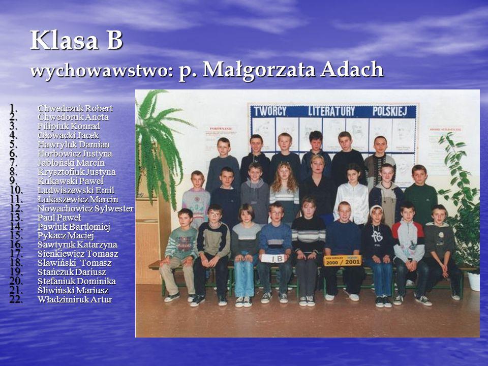 Klasa B wychowawstwo: p.Małgorzata Adach 1. Chwedczuk Robert 2.