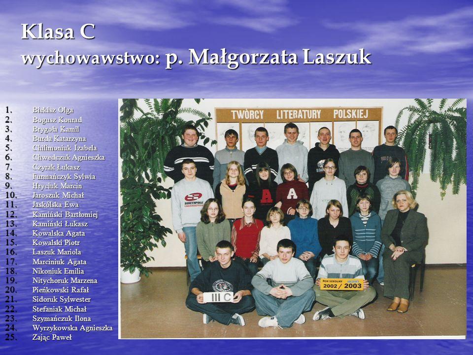 Klasa C wychowawstwo: p.Małgorzata Laszuk 1. Biekisz Olga 2.