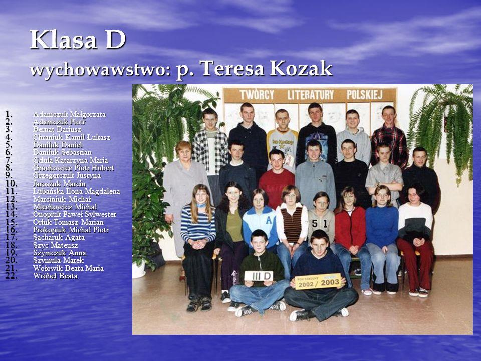 Klasa D wychowawstwo: p.Teresa Kozak 1. Adamczuk Małgorzata 2.
