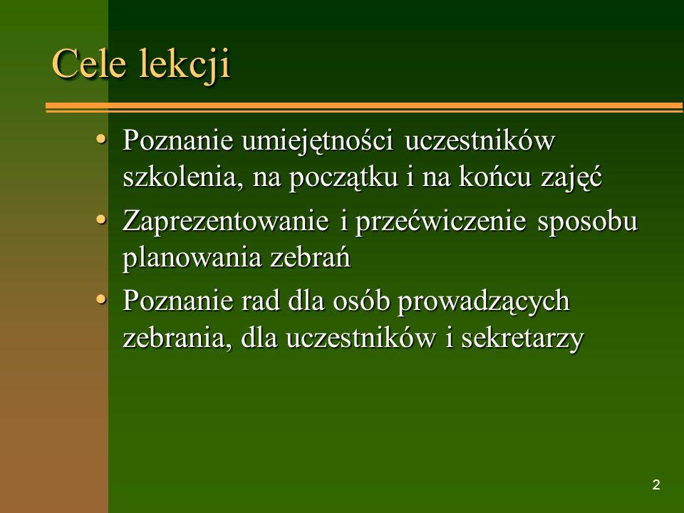 Irena Dzierzgowska CODN, Warszawa 2000 Dyrektor w zreformowanej szkole Lekcja 15. Udane zebranie Czas spędzony na rozpatrywaniu danego punktu zagadnie