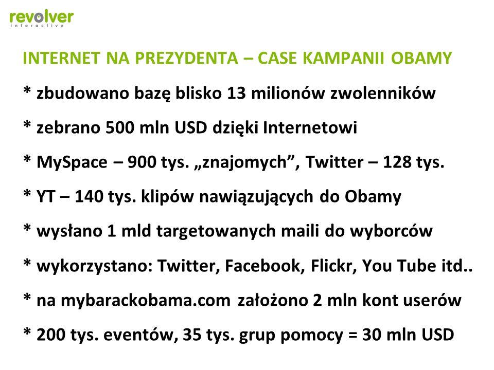 INTERNET NA PREZYDENTA – CASE KAMPANII OBAMY * zbudowano bazę blisko 13 milionów zwolenników * zebrano 500 mln USD dzięki Internetowi * MySpace – 900 tys.