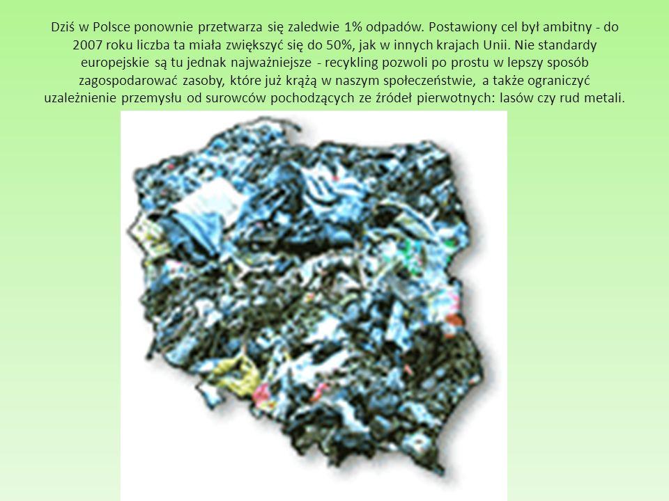 Dziś w Polsce ponownie przetwarza się zaledwie 1% odpadów. Postawiony cel był ambitny - do 2007 roku liczba ta miała zwiększyć się do 50%, jak w innyc