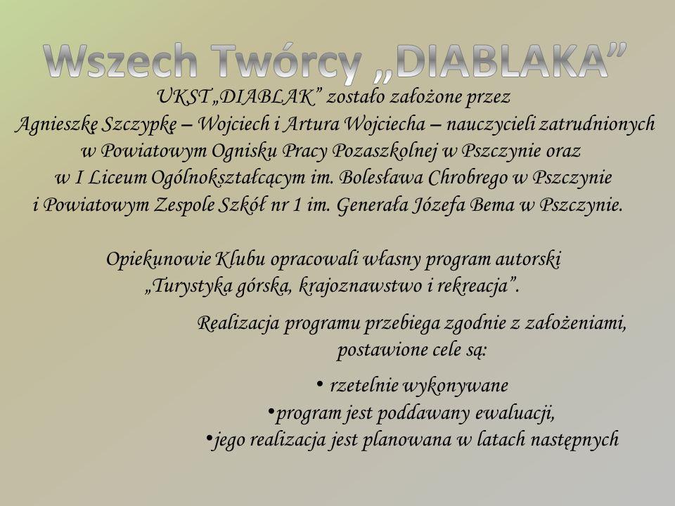 UKST DIABLAK zostało założone przez Agnieszkę Szczypkę – Wojciech i Artura Wojciecha – nauczycieli zatrudnionych w Powiatowym Ognisku Pracy Pozaszkolnej w Pszczynie oraz w I Liceum Ogólnokształcącym im.