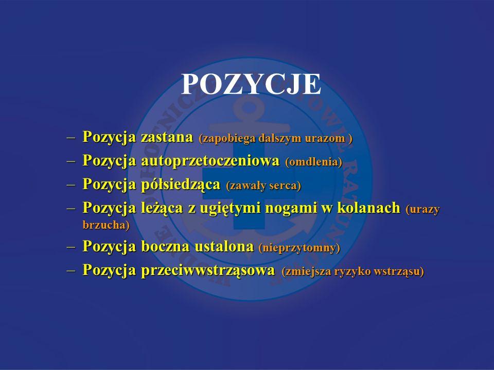 POZYCJE –Pozycja zastana (zapobiega dalszym urazom ) –Pozycja autoprzetoczeniowa (omdlenia) –Pozycja półsiedząca (zawały serca) –Pozycja leżąca z ugię