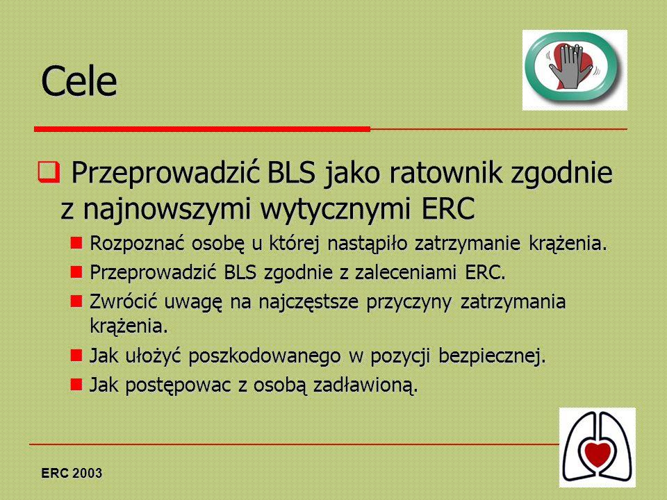 ERC 2003 Cele Przeprowadzić BLS jako ratownik zgodnie z najnowszymi wytycznymi ERC Przeprowadzić BLS jako ratownik zgodnie z najnowszymi wytycznymi ER