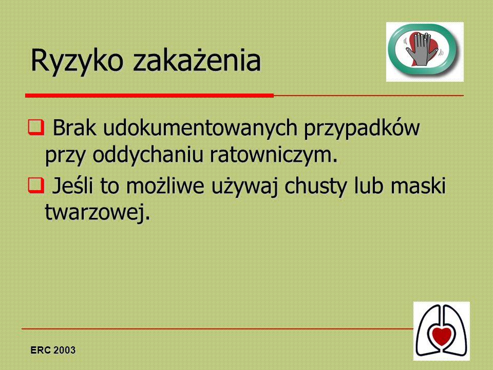 ERC 2003 Ryzyko zakażenia Brak udokumentowanych przypadków przy oddychaniu ratowniczym. Brak udokumentowanych przypadków przy oddychaniu ratowniczym.