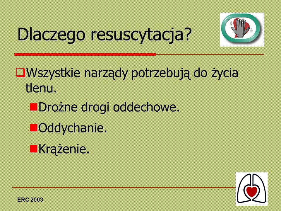 ERC 2003 Dlaczego resuscytacja? Wszystkie narządy potrzebują do życia tlenu. Wszystkie narządy potrzebują do życia tlenu. Drożne drogi oddechowe. Droż