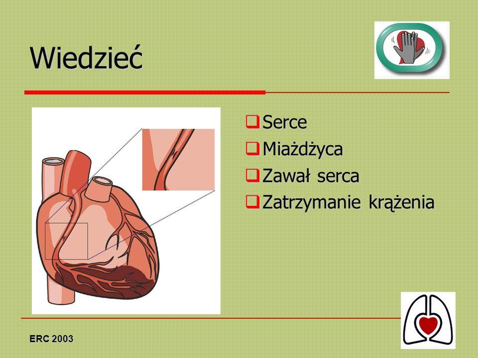 ERC 2003 Wiedzieć Serce Serce Miażdżyca Miażdżyca Zawał serca Zawał serca Zatrzymanie krążenia Zatrzymanie krążenia