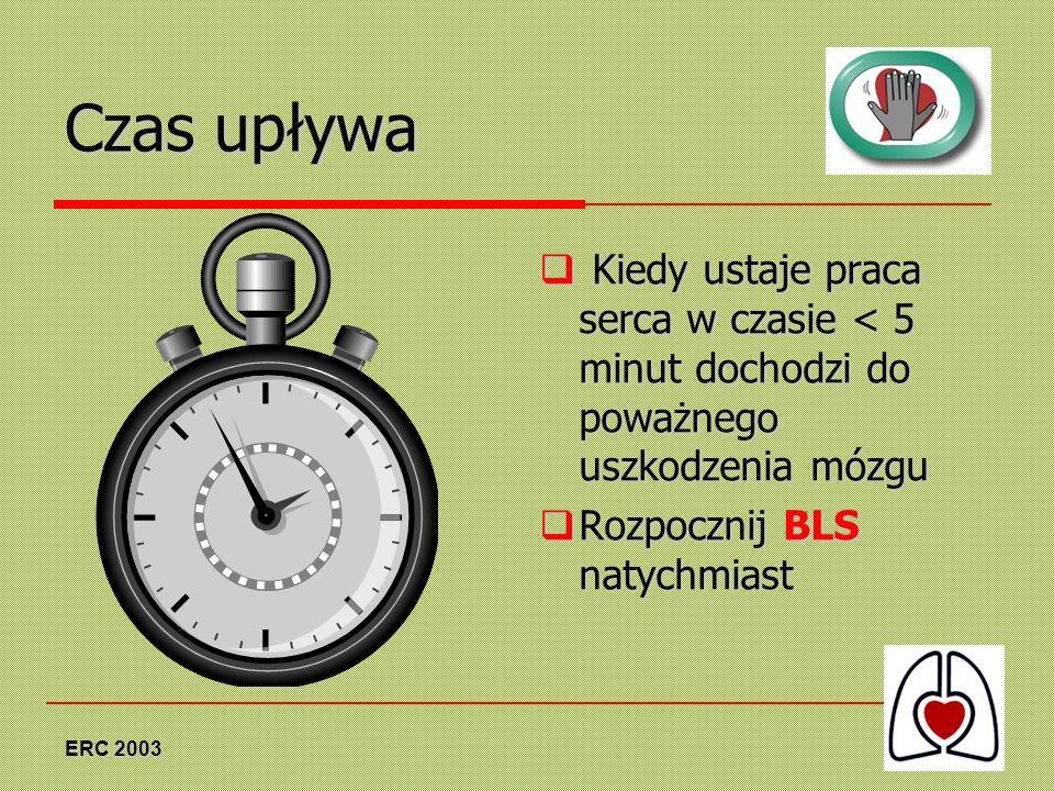 ERC 2003 Czas upływa Kiedy ustaje praca serca w czasie < 5 minut dochodzi do poważnego uszkodzenia mózgu Kiedy ustaje praca serca w czasie < 5 minut d