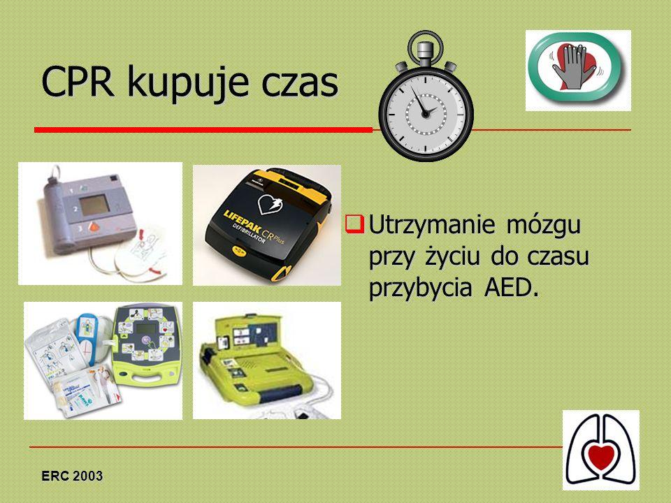 ERC 2003 CPR kupuje czas Utrzymanie mózgu przy życiu do czasu przybycia AED. Utrzymanie mózgu przy życiu do czasu przybycia AED.