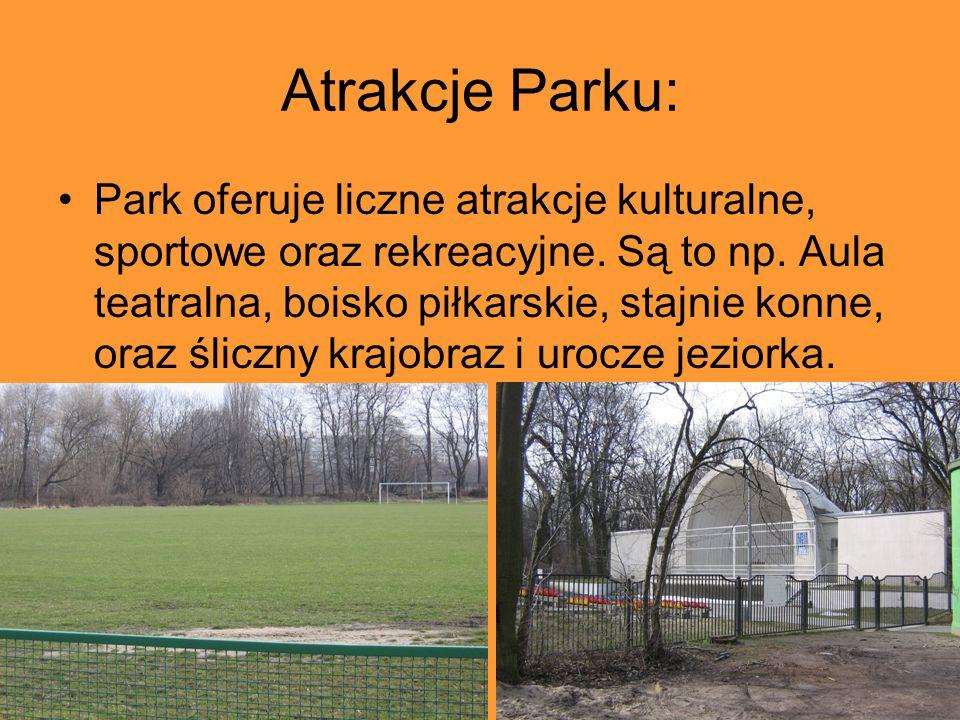 Atrakcje Parku: Park oferuje liczne atrakcje kulturalne, sportowe oraz rekreacyjne. Są to np. Aula teatralna, boisko piłkarskie, stajnie konne, oraz ś