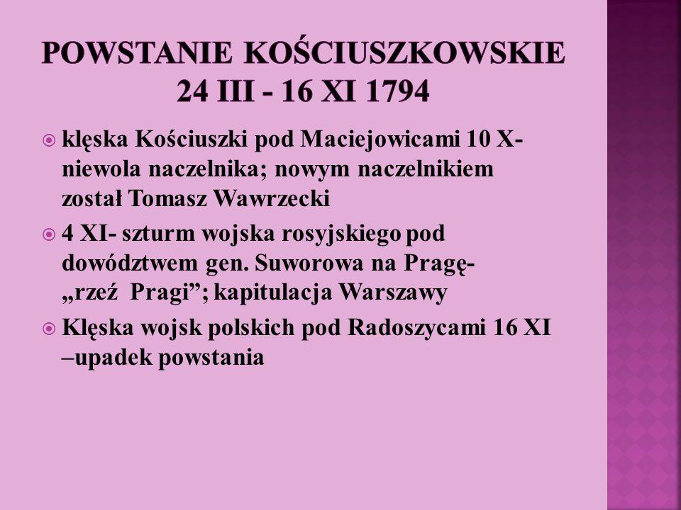 klęska Kościuszki pod Maciejowicami 10 X- niewola naczelnika; nowym naczelnikiem został Tomasz Wawrzecki 4 XI- szturm wojska rosyjskiego pod dowództwe