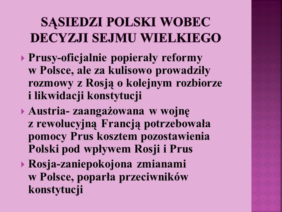 Prusy-oficjalnie popierały reformy w Polsce, ale za kulisowo prowadziły rozmowy z Rosją o kolejnym rozbiorze i likwidacji konstytucji Austria- zaangaż