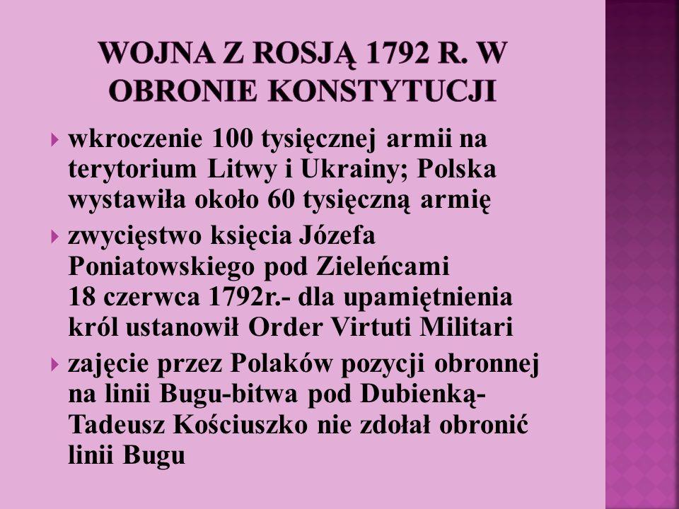 wkroczenie 100 tysięcznej armii na terytorium Litwy i Ukrainy; Polska wystawiła około 60 tysięczną armię zwycięstwo księcia Józefa Poniatowskiego pod