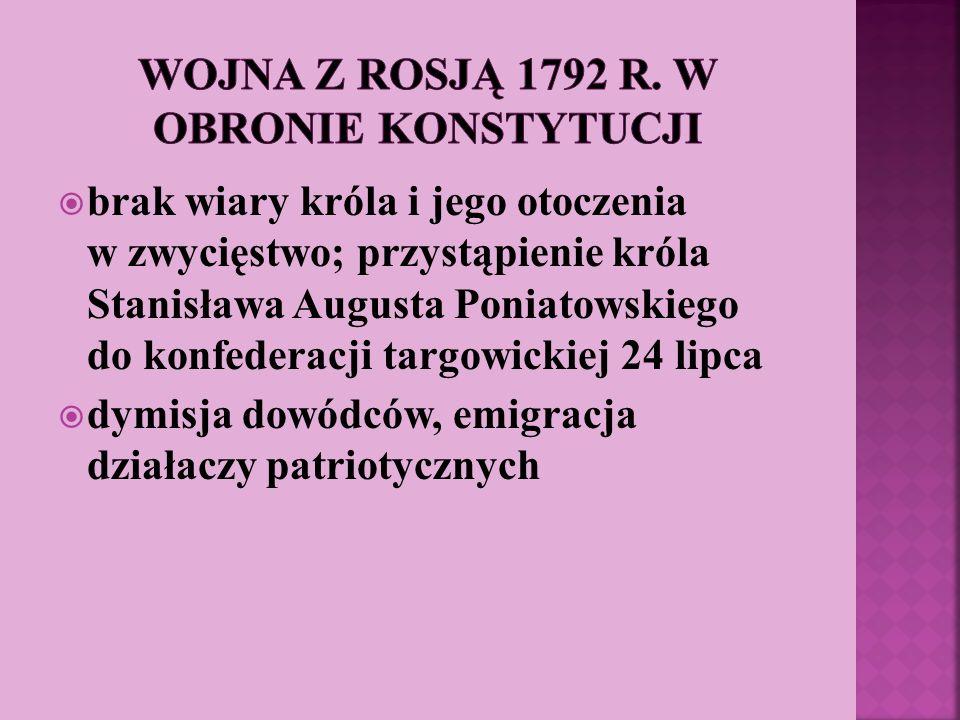 brak wiary króla i jego otoczenia w zwycięstwo; przystąpienie króla Stanisława Augusta Poniatowskiego do konfederacji targowickiej 24 lipca dymisja do