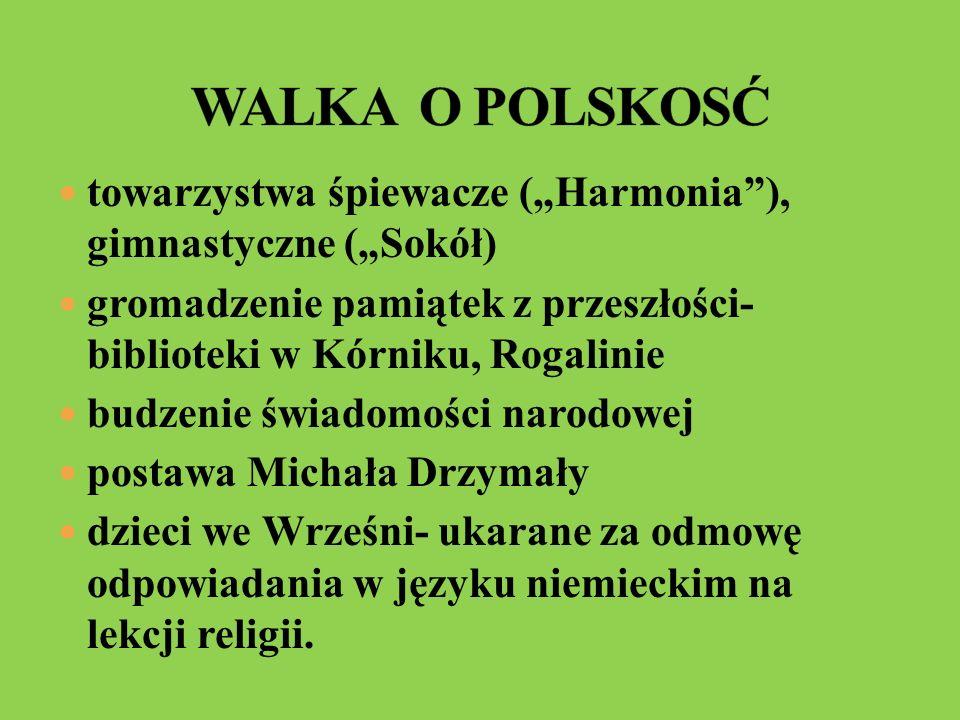 towarzystwa śpiewacze (Harmonia), gimnastyczne (Sokół) gromadzenie pamiątek z przeszłości- biblioteki w Kórniku, Rogalinie budzenie świadomości narodo