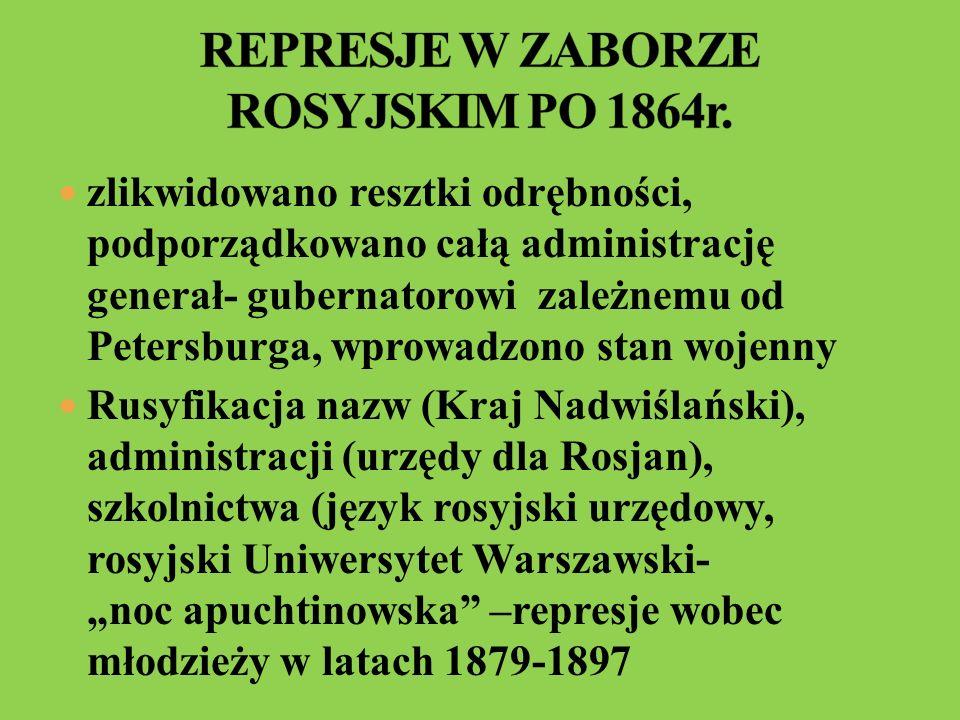 Kościół katolicki podporządkowano Petersburgowi- konfiskata majątków, likwidacja zakonów, krwawe prześladowania wiernych kościoła unickiego represje gospodarcze nasiliły się na ziemiach włączonych do Rosji- zakaz nabywania ziemi przez Polaków, wysokie kontrybucje, brak dostępu do urzędów