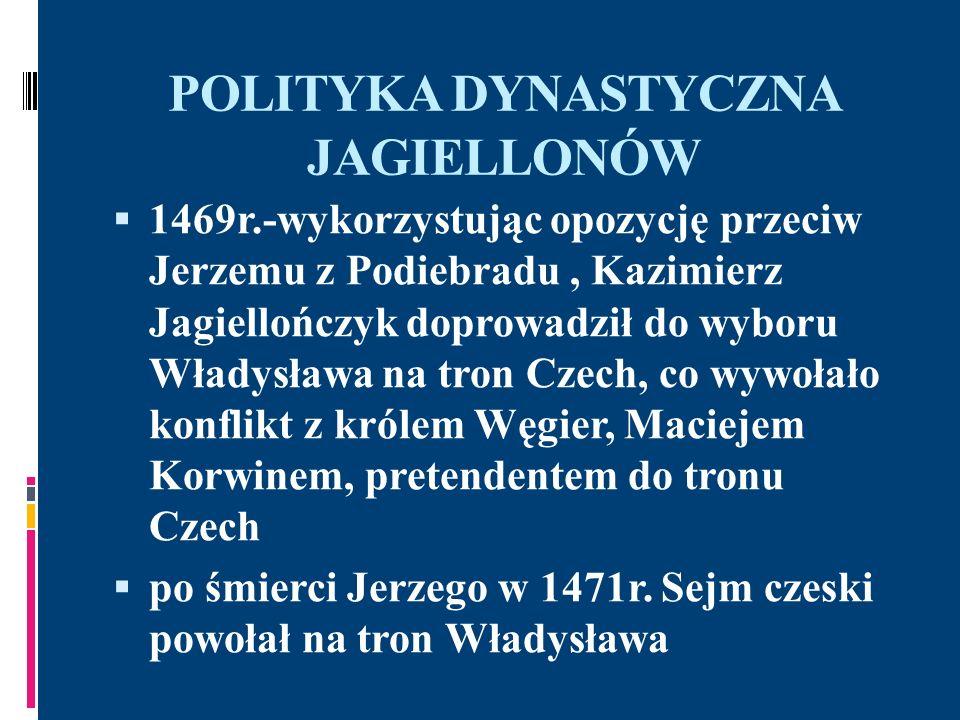 POLITYKA DYNASTYCZNA JAGIELLONÓW wojna z Maciejem Korwinem zakończona porozumieniem w Ołomuńcu: Władysław otrzymał Czechy, a Śląsk, Łużyce, Morawy pozostały w rękach Korwina rywalizacja o tron węgierski w 1490r.