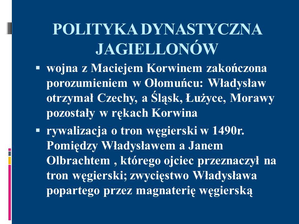 POLITYKA DYNASTYCZNA JAGIELLONÓW wojna z Maciejem Korwinem zakończona porozumieniem w Ołomuńcu: Władysław otrzymał Czechy, a Śląsk, Łużyce, Morawy poz