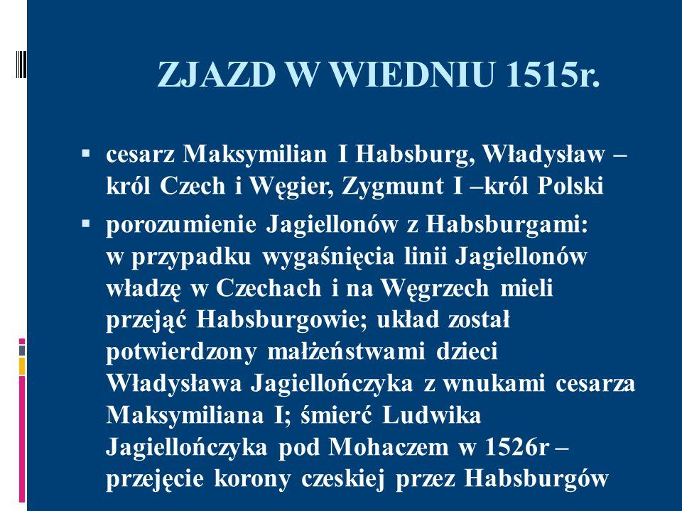 ZJAZD W WIEDNIU 1515r. cesarz Maksymilian I Habsburg, Władysław – król Czech i Węgier, Zygmunt I –król Polski porozumienie Jagiellonów z Habsburgami: