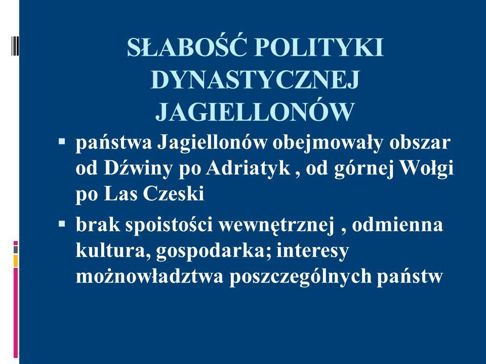 SŁABOŚĆ POLITYKI DYNASTYCZNEJ JAGIELLONÓW państwa Jagiellonów obejmowały obszar od Dźwiny po Adriatyk, od górnej Wołgi po Las Czeski brak spoistości w