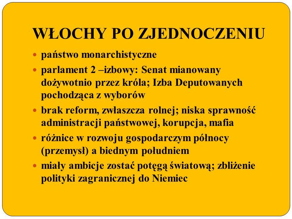 WŁOCHY PO ZJEDNOCZENIU państwo monarchistyczne parlament 2 –izbowy: Senat mianowany dożywotnio przez króla; Izba Deputowanych pochodząca z wyborów bra