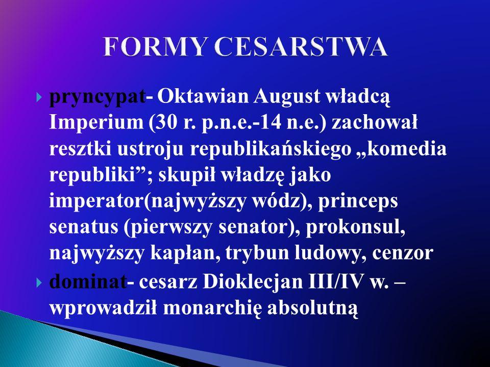 pryncypat- Oktawian August władcą Imperium (30 r.