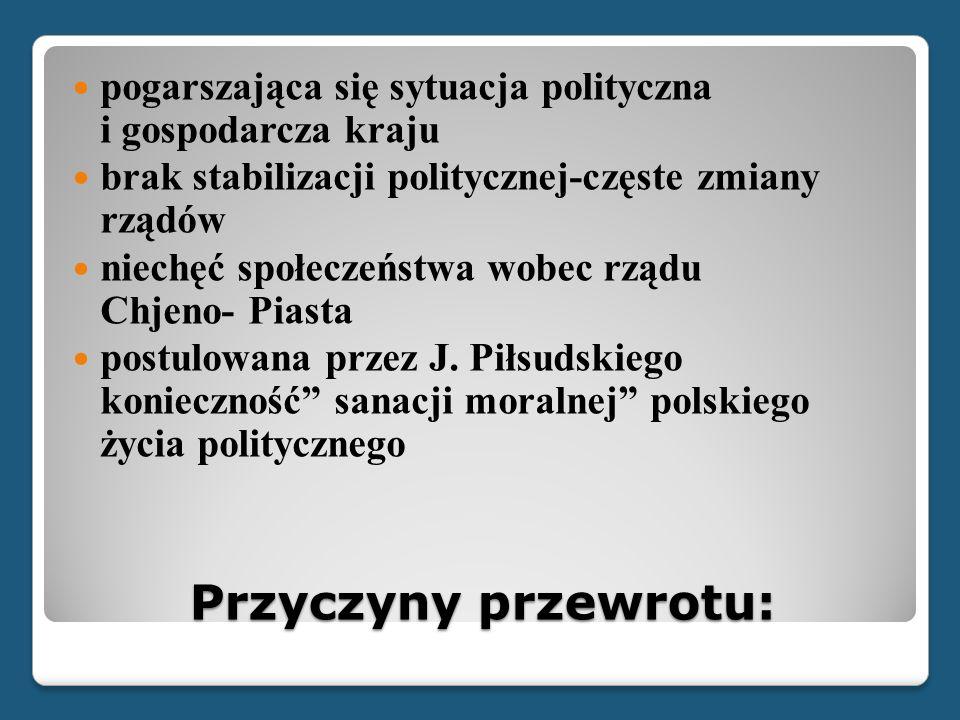 Przyczyny przewrotu: pogarszająca się sytuacja polityczna i gospodarcza kraju brak stabilizacji politycznej-częste zmiany rządów niechęć społeczeństwa