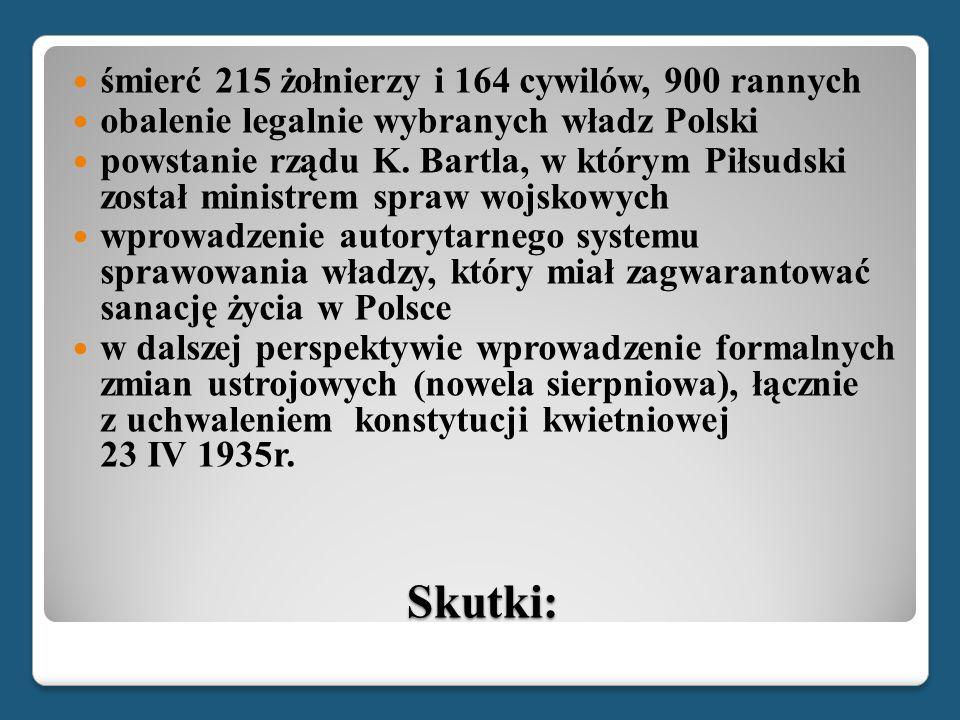 Skutki: śmierć 215 żołnierzy i 164 cywilów, 900 rannych obalenie legalnie wybranych władz Polski powstanie rządu K. Bartla, w którym Piłsudski został