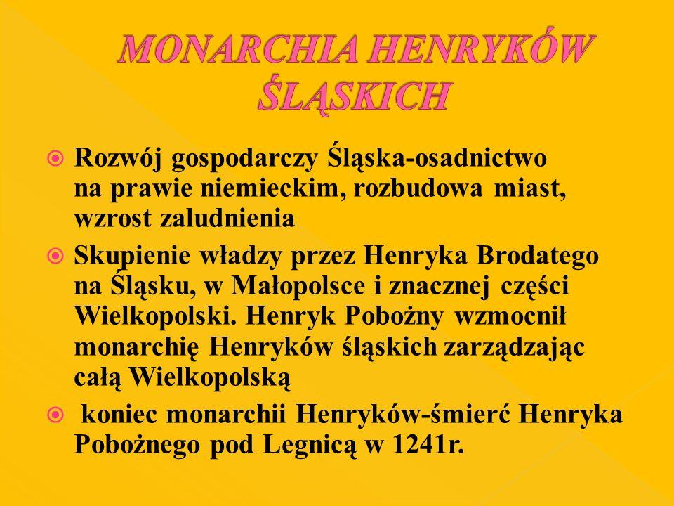 Rozwój gospodarczy Śląska-osadnictwo na prawie niemieckim, rozbudowa miast, wzrost zaludnienia Skupienie władzy przez Henryka Brodatego na Śląsku, w M