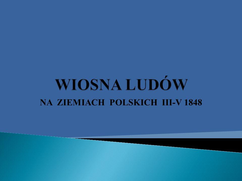 fala wystąpień rewolucyjnych w Europie w latach 1848-1849; walczono o wolności demokratyczne, równość wobec prawa, udział w rządach, dążono do zjednoczenia (na ziemiach włoskich i niemieckich), walczono o niepodległość (Polacy,Węgrzy, Słowacy,Czesi).