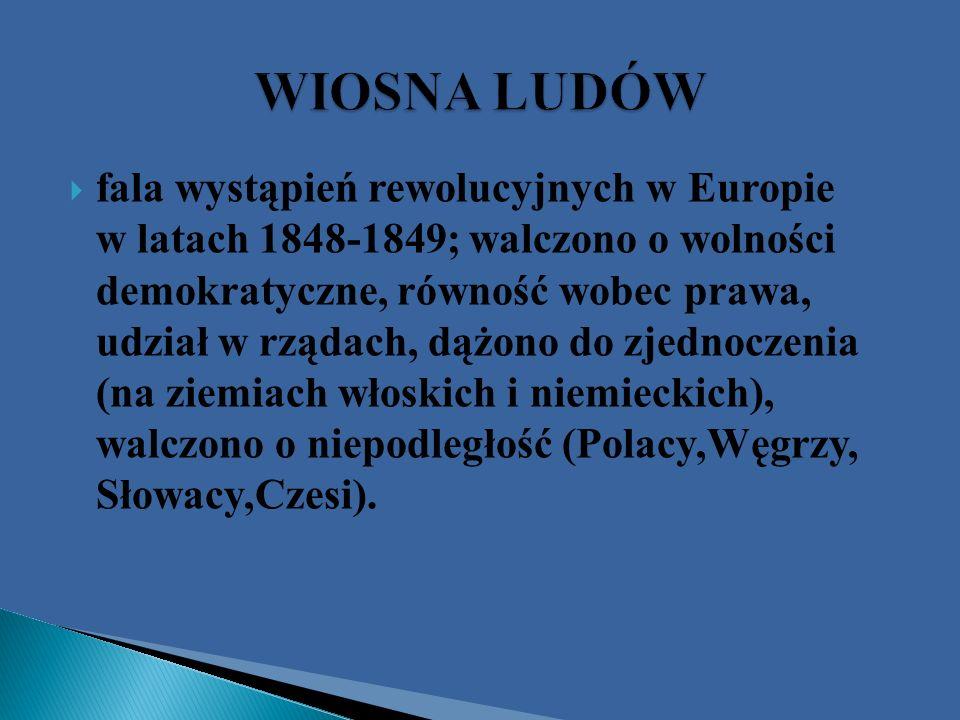 fala wystąpień rewolucyjnych w Europie w latach 1848-1849; walczono o wolności demokratyczne, równość wobec prawa, udział w rządach, dążono do zjednoc