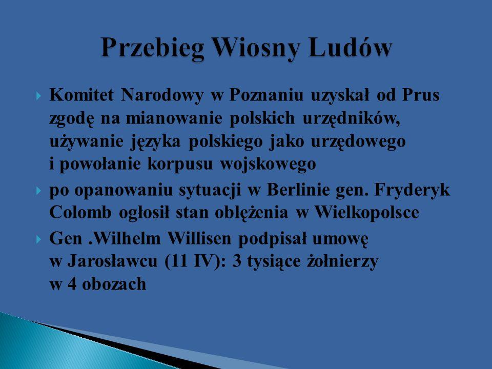atak na obóz w Książu, zwycięstwo Polaków pod Miłosławiem i Sokołowem; przewaga Prus –upadek powstania 9 V 1848r.