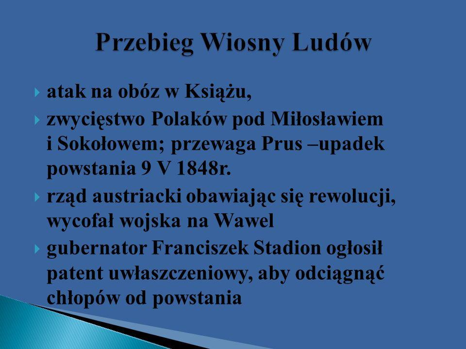 atak na obóz w Książu, zwycięstwo Polaków pod Miłosławiem i Sokołowem; przewaga Prus –upadek powstania 9 V 1848r. rząd austriacki obawiając się rewolu