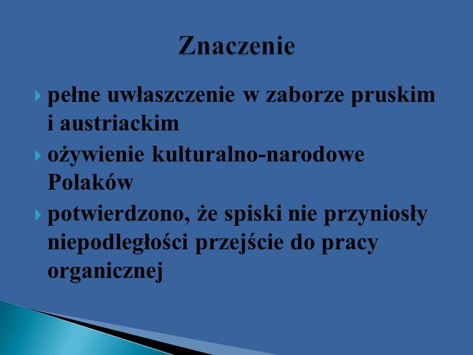 pełne uwłaszczenie w zaborze pruskim i austriackim ożywienie kulturalno-narodowe Polaków potwierdzono, że spiski nie przyniosły niepodległości przejśc