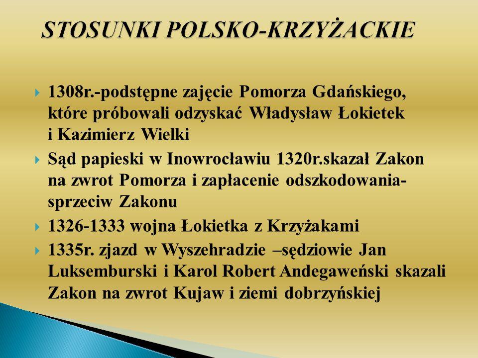 1308r.-podstępne zajęcie Pomorza Gdańskiego, które próbowali odzyskać Władysław Łokietek i Kazimierz Wielki Sąd papieski w Inowrocławiu 1320r.skazał Zakon na zwrot Pomorza i zapłacenie odszkodowania- sprzeciw Zakonu 1326-1333 wojna Łokietka z Krzyżakami 1335r.