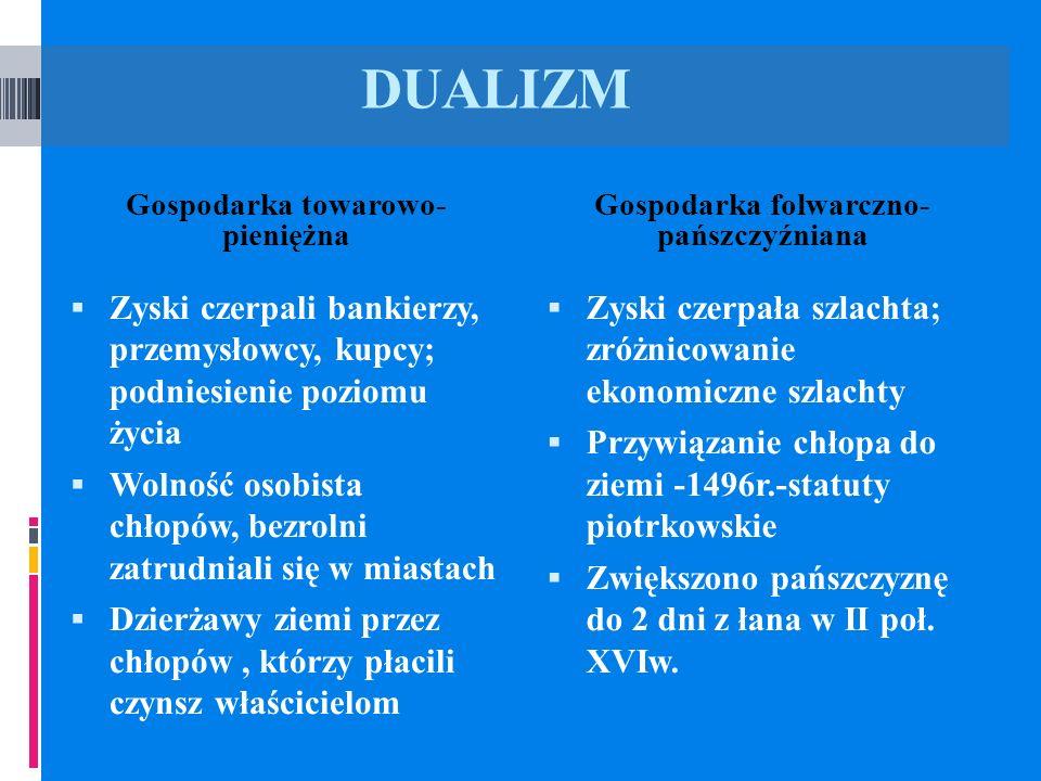 DUALIZM Gospodarka towarowo- pieniężna Gospodarka folwarczno- pańszczyźniana Zyski czerpali bankierzy, przemysłowcy, kupcy; podniesienie poziomu życia