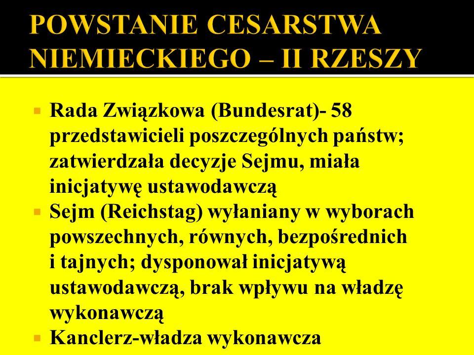 Rada Związkowa (Bundesrat)- 58 przedstawicieli poszczególnych państw; zatwierdzała decyzje Sejmu, miała inicjatywę ustawodawczą Sejm (Reichstag) wyłan