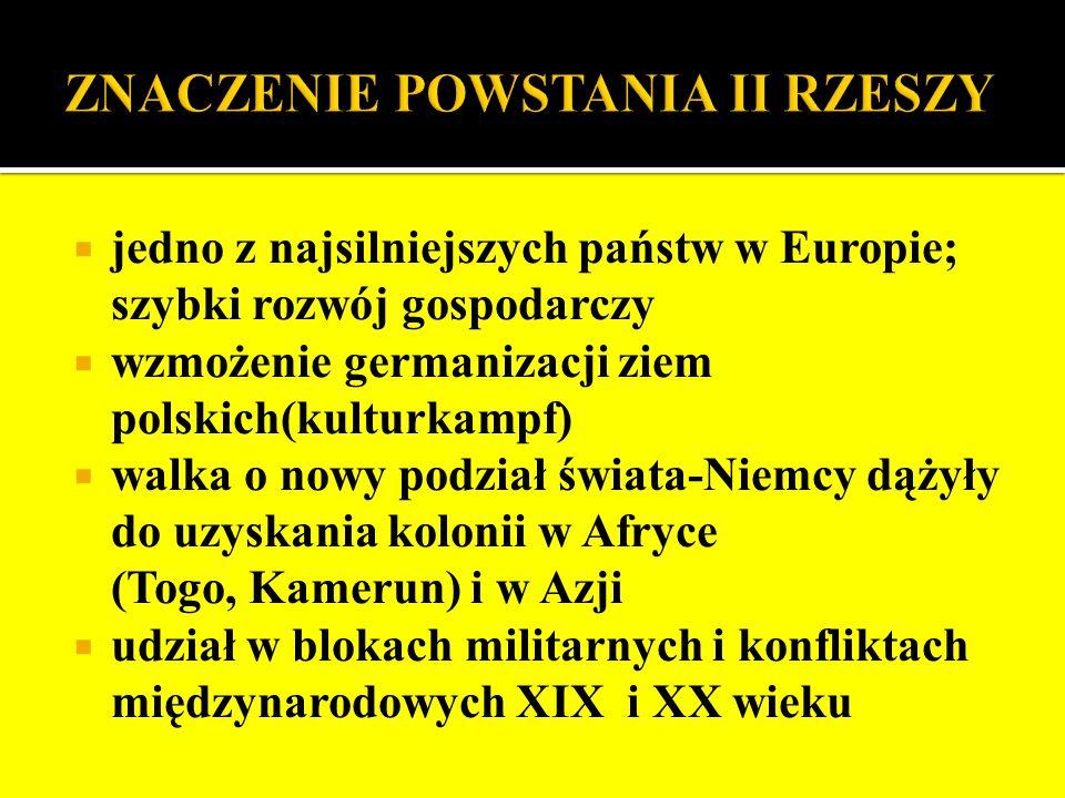jedno z najsilniejszych państw w Europie; szybki rozwój gospodarczy wzmożenie germanizacji ziem polskich(kulturkampf) walka o nowy podział świata-Niem