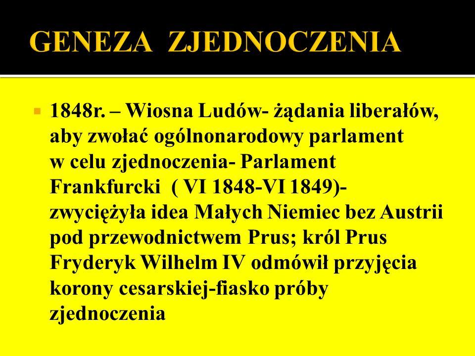 1848r. – Wiosna Ludów- żądania liberałów, aby zwołać ogólnonarodowy parlament w celu zjednoczenia- Parlament Frankfurcki ( VI 1848-VI 1849)- zwyciężył